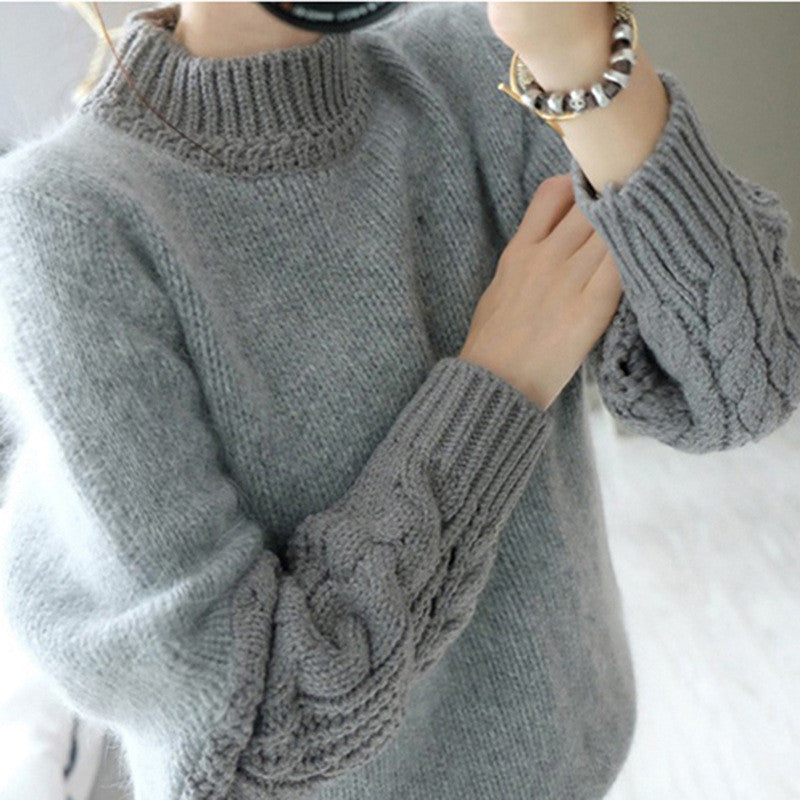 High Neck Cable Pullover Solid Color Sweater - Oh Yours Fashion - 1