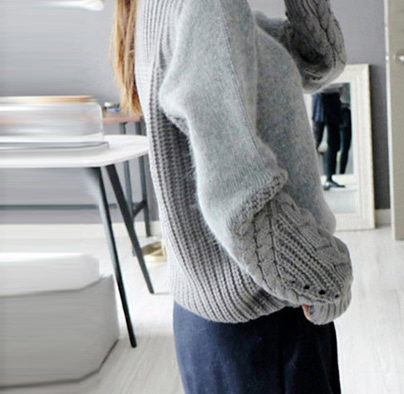 High Neck Cable Pullover Solid Color Sweater - Oh Yours Fashion - 5