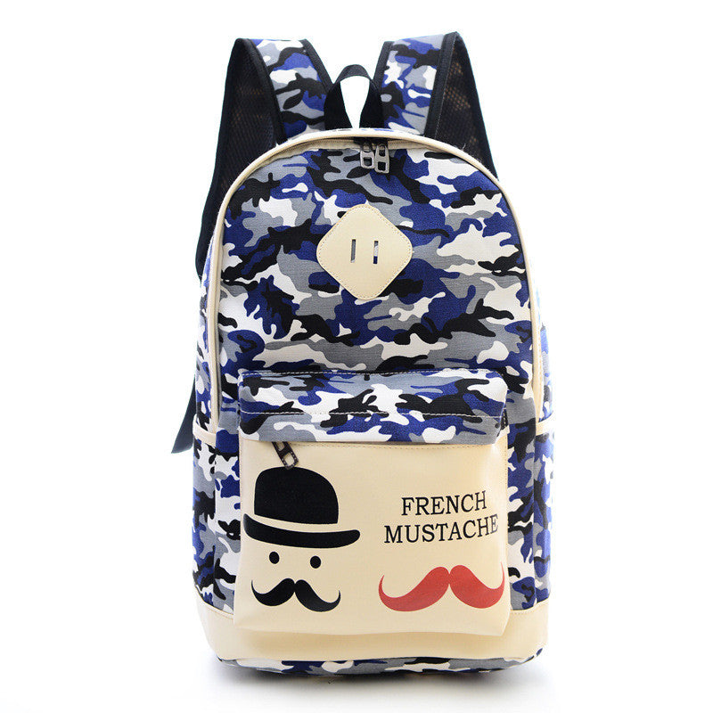 Fashion Canvas Camouflage Mustache Cartoon School Backpack Bag - Oh Yours Fashion - 4
