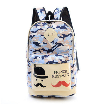 Fashion Canvas Camouflage Mustache Cartoon School Backpack Bag - Oh Yours Fashion - 3