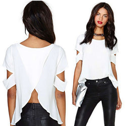 Scoop Short Sleeves Cutting Backless Split Chiffon Falbala Blouse - Oh Yours Fashion - 2