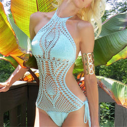 Hollow Knit Halter Mesh Strappy Monokini Swimwear - Meet Yours Fashion - 1