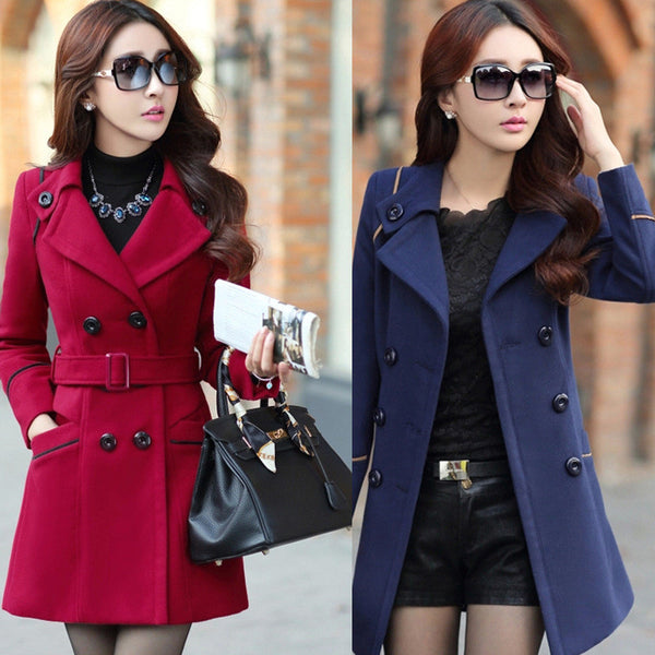 Slim Long Sleeves Button Wool Length Belt Coat - Oh Yours Fashion - 1