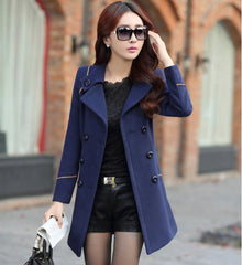 Slim Long Sleeves Button Wool Length Belt Coat - Oh Yours Fashion - 4