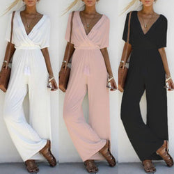 Wide Leg Plain V Neck Short Sleeve Jumpsuits