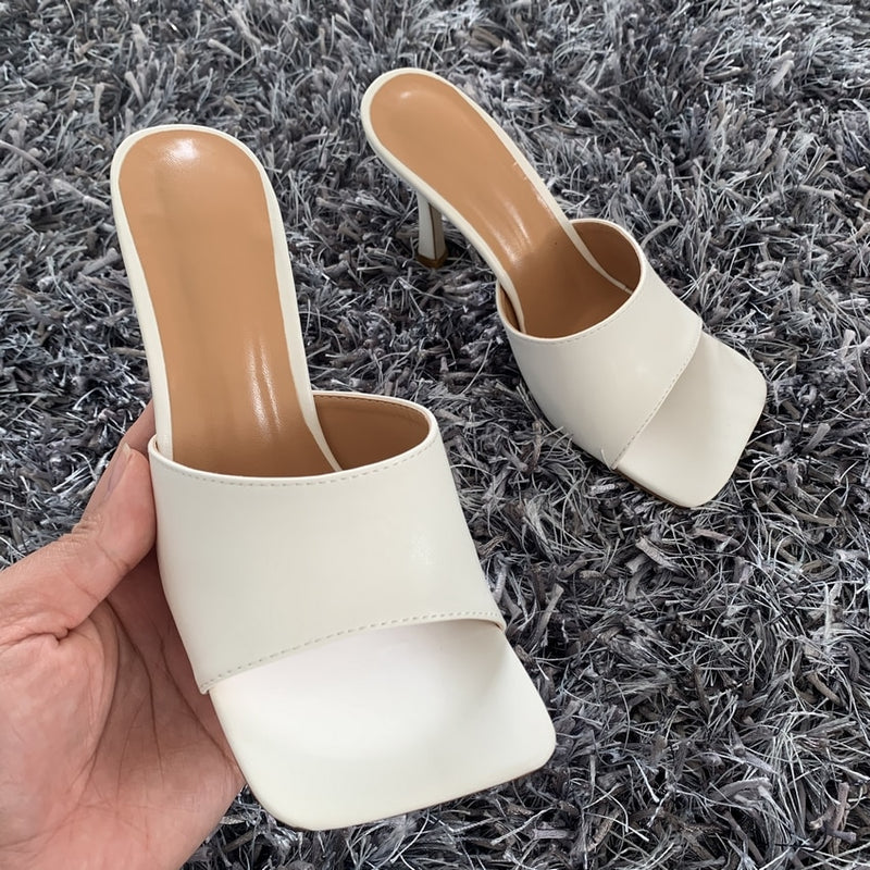 Square Toe Heels Sandals Slippers Mules Sandals
