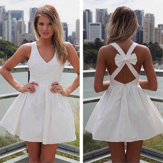 V-neck Back Cross A-line Sleeveless Sexy Party Dress - Oh Yours Fashion - 5