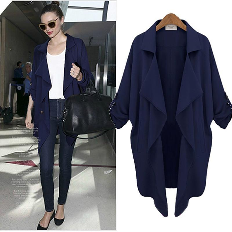 Plus Size Autumn Long Sleeves Chiffon Coat - Meet Yours Fashion - 4