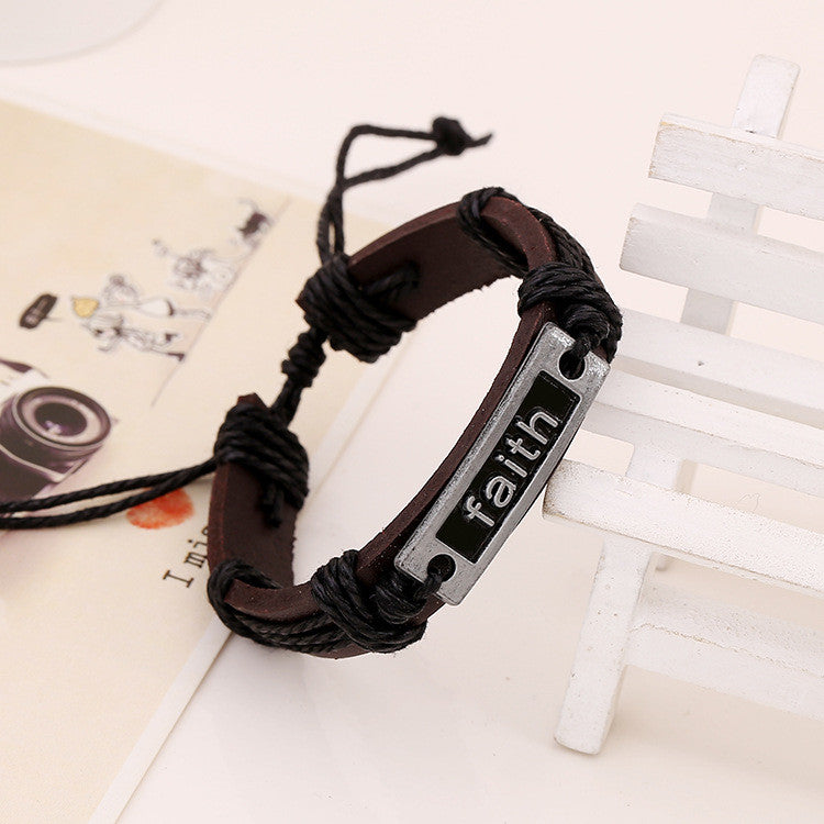 Retro Faith Leather Bracelet - Oh Yours Fashion - 3