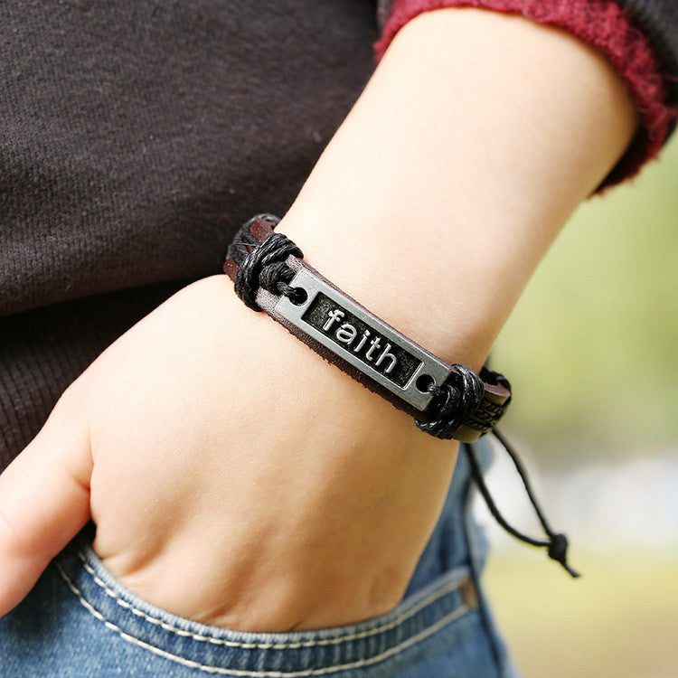 Retro Faith Leather Bracelet - Oh Yours Fashion - 2