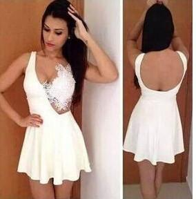 Lace Patchwork V-neck Backless Short Dress - MeetYoursFashion - 3