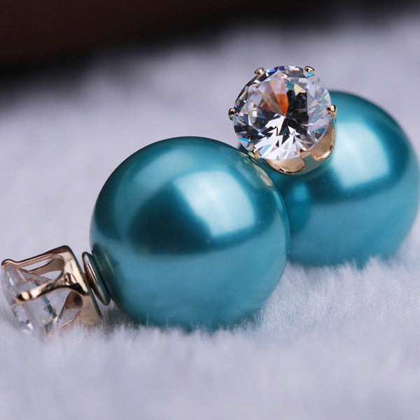 Zircon Crystal Candy Double Side Pearl Earring - Oh Yours Fashion - 2