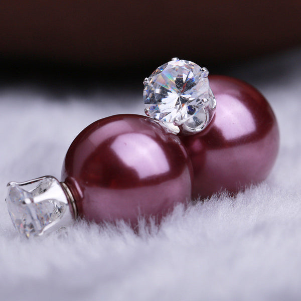 Zircon Crystal Candy Double Side Pearl Earring - Oh Yours Fashion - 1