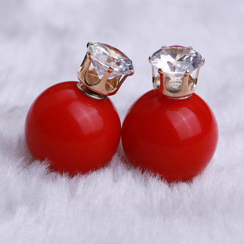 Zircon Crystal Candy Double Side Pearl Earring - Oh Yours Fashion - 23