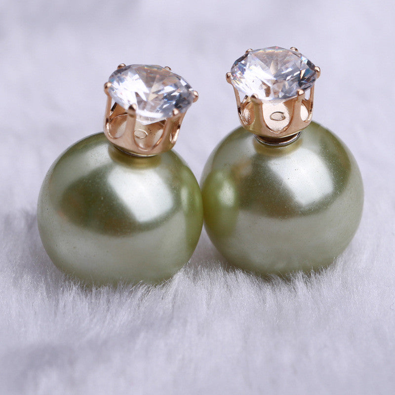 Zircon Crystal Candy Double Side Pearl Earring - Oh Yours Fashion - 28