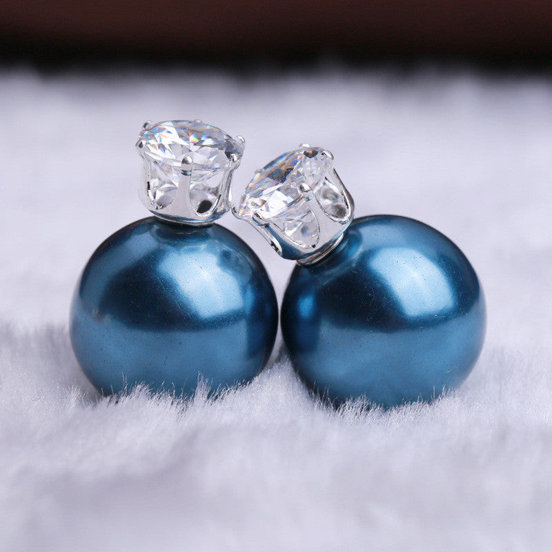 Zircon Crystal Candy Double Side Pearl Earring - Oh Yours Fashion - 42