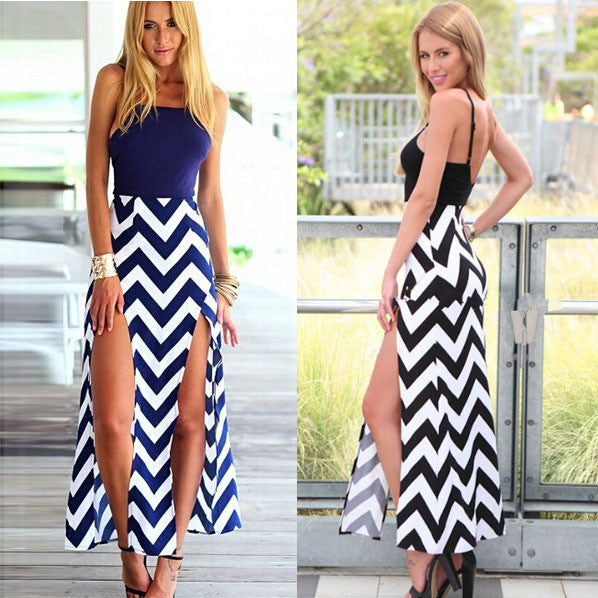 Spaghetti Strap Stripe Splicing Sleeveless Irregular Long Dress - Oh Yours Fashion - 1