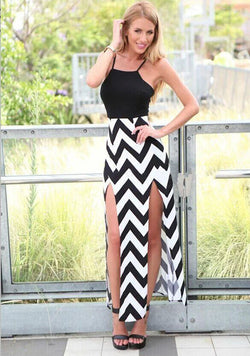 Spaghetti Strap Stripe Splicing Sleeveless Irregular Long Dress - Oh Yours Fashion - 2