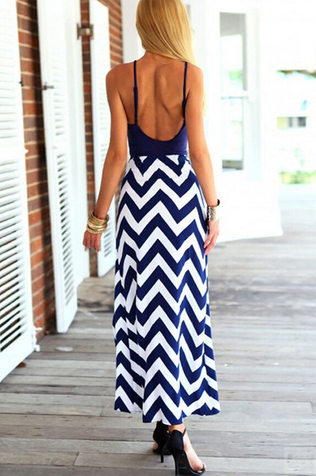 Spaghetti Strap Stripe Splicing Sleeveless Irregular Long Dress - Oh Yours Fashion - 5