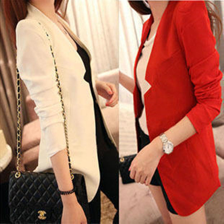 Shoulder Pads Long Sleeves Slim Short OL Blazer - Oh Yours Fashion - 1