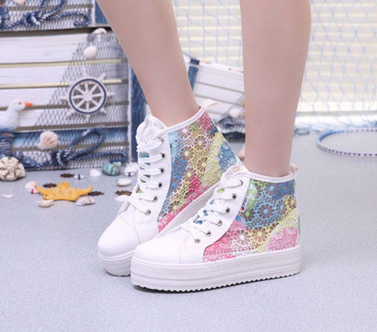 Sweet Sponge Thick Bottom Hollow Lace Sneakers - Oh Yours Fashion - 8