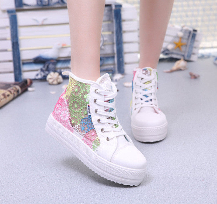 Sweet Sponge Thick Bottom Hollow Lace Sneakers - Oh Yours Fashion - 4