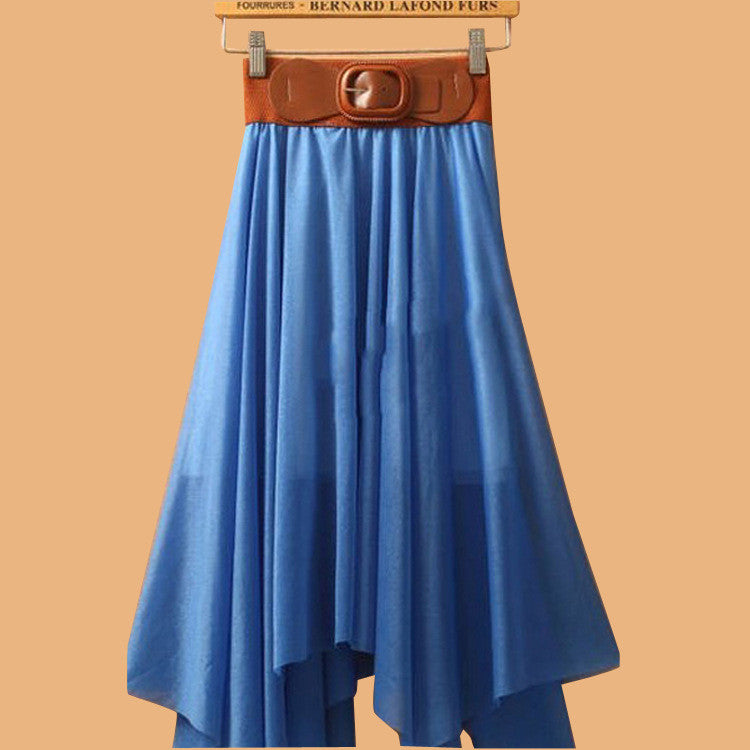 Chiffon Irregular Bohemian Flare Pleated Beach Middle Belt Skirt - Oh Yours Fashion - 10