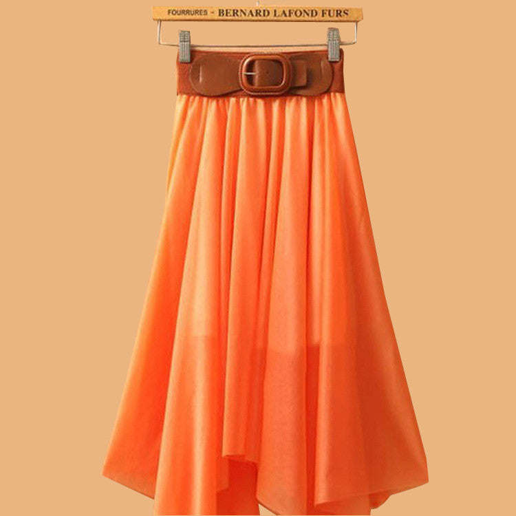 Chiffon Irregular Bohemian Flare Pleated Beach Middle Belt Skirt - Oh Yours Fashion - 9