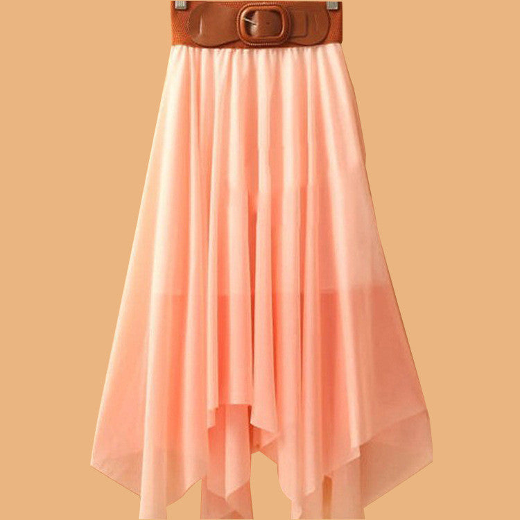 Chiffon Irregular Bohemian Flare Pleated Beach Middle Belt Skirt - Oh Yours Fashion - 7