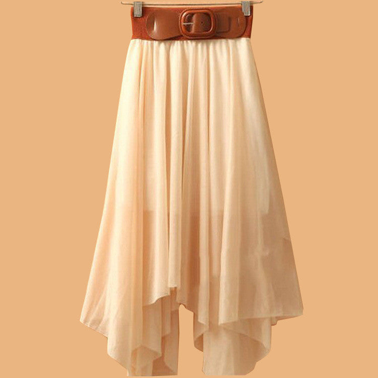 Chiffon Irregular Bohemian Flare Pleated Beach Middle Belt Skirt - Oh Yours Fashion - 6