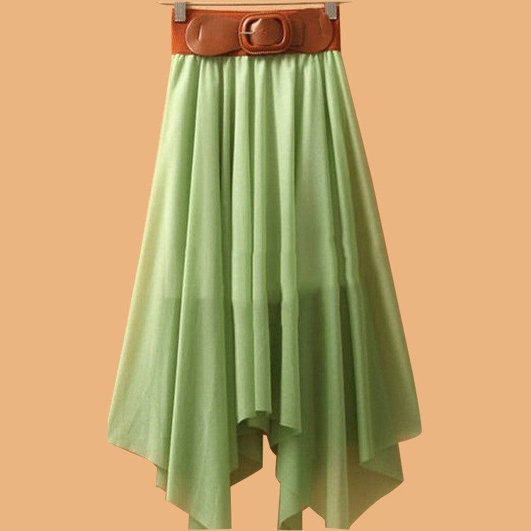 Chiffon Irregular Bohemian Flare Pleated Beach Middle Belt Skirt - Oh Yours Fashion - 5