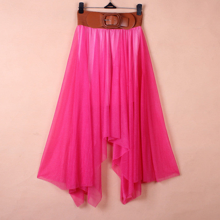 Chiffon Irregular Bohemian Flare Pleated Beach Middle Belt Skirt - Oh Yours Fashion - 4