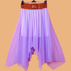 Chiffon Irregular Bohemian Flare Pleated Beach Middle Belt Skirt - Oh Yours Fashion - 8
