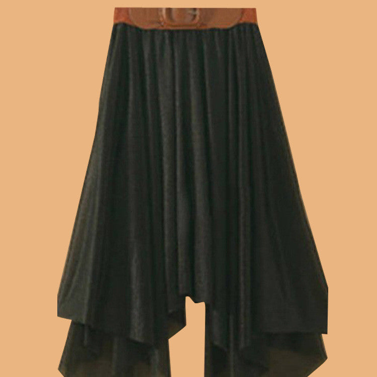 Chiffon Irregular Bohemian Flare Pleated Beach Middle Belt Skirt - Oh Yours Fashion - 1
