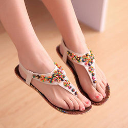 Bohemia Style Color Beaded Thong Sandals