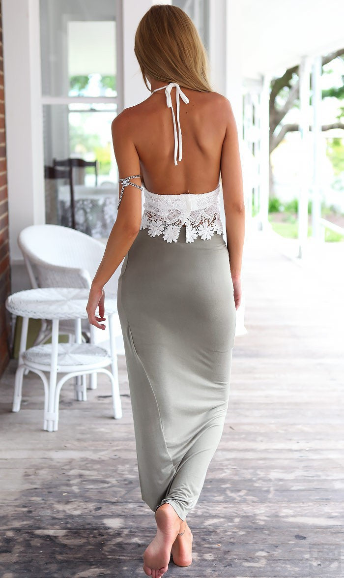 Lace Halter Backless Crop Top with Irregular Long Skirt Dress Suit - Oh Yours Fashion - 5