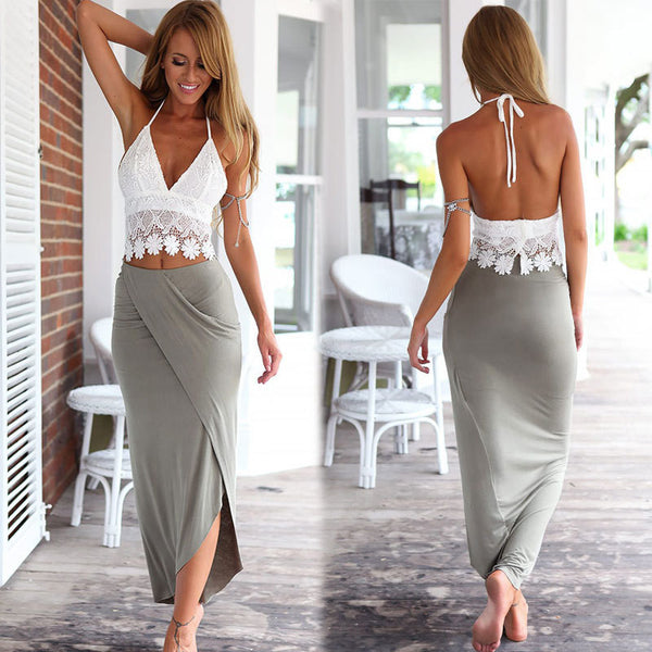 Lace Halter Backless Crop Top with Irregular Long Skirt Dress Suit - Oh Yours Fashion - 1