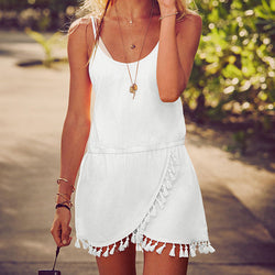 Tassels Irregular Spaghetti Strap Sleeveless Short Dress - Oh Yours Fashion - 1