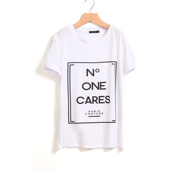 N Letters Flower Print Scoop Short Sleeves Fashion T-shirt - Oh Yours Fashion - 2