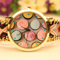 Icecream Print Handmade Woven Bracelet Watch - Oh Yours Fashion - 1