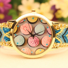 Icecream Print Handmade Woven Bracelet Watch - Oh Yours Fashion - 2