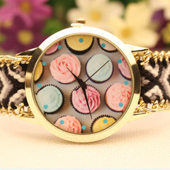 Icecream Print Handmade Woven Bracelet Watch - Oh Yours Fashion - 3