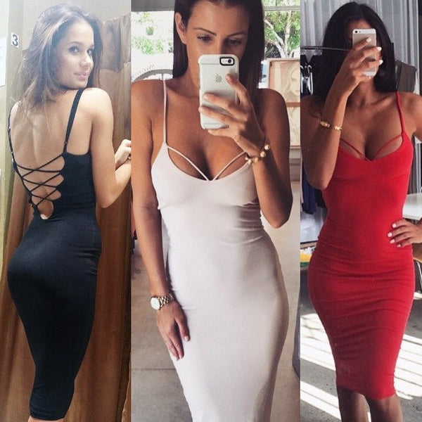 Sexy Backless Spaghetti Bodycon Dress - O Yours Fashion - 2