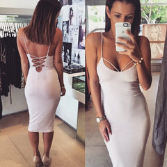 Sexy Backless Spaghetti Bodycon Dress - O Yours Fashion - 1
