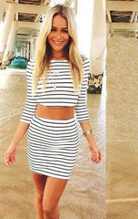 2017 Fashion Long Sleeves Crop Top Striped Stretch Skirt Dress Set