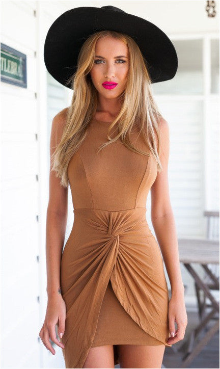 Sleeveless Irregular Backless O-neck Pure Color Short Tank Dress - Oh Yours Fashion - 2