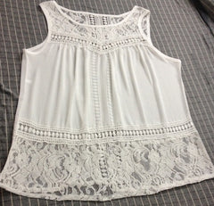 Sleeveless Scoop Lace Patchwork Spilt Crochet Blouse - Oh Yours Fashion - 5