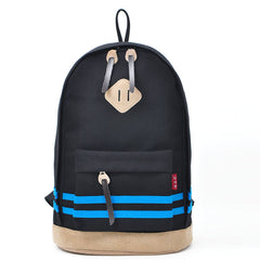 Contrast Color Stripe Canvas Backpack Bag - Oh Yours Fashion - 2
