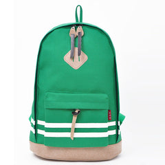 Contrast Color Stripe Canvas Backpack Bag - Oh Yours Fashion - 3