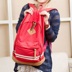 Contrast Color Stripe Canvas Backpack Bag - Oh Yours Fashion - 5